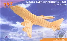 3-D Wooden Puzzle: 747 (Wood Craft Construction Kit) 33 Pieces Ages 7 and Up,Puzzled Inc