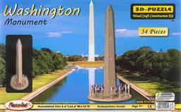 3-D Wooden Puzzle: Washington Monument (Wood Craft Construction Kit) 34 Pieces Ages 7 and Up,Puzzled Inc