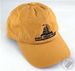 Embroidered Mustard Yellow Don't Tread on Me Hat / Gadsden Baseball Cap,Loving Truth Books & Gifts