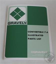Gravely Tractor 7.6 Illustrated Parts List, Manual, Super/ Custom Convertible,Gravely