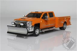 1:64 Dually Drivers Series 6 - 2018 Chevrolet Silverado 3500 Dually Service Bed - Tangier Orange with Snow Plow (AVAILIBLE NOV-DEC 2020),Greenlight Collectibles