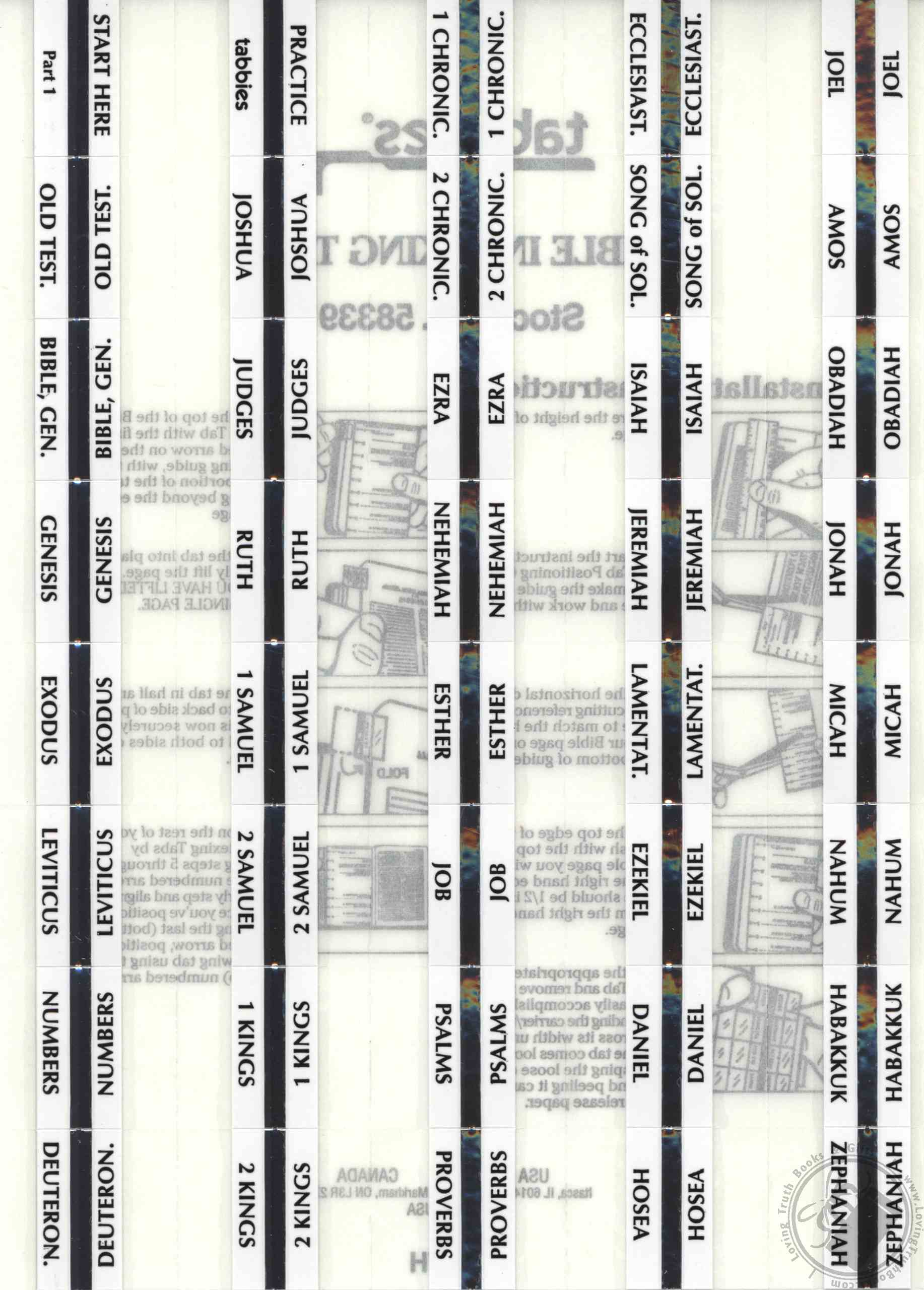 Standard Print Silver Bible Indexing Tabs For Any Size